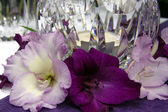 Table decoration with gladiolus. To the romantic rendezvous — Stock Photo