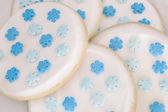 Snowflakes on White Iced Sugar Cookies — Stock Photo