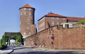 Tower, Gate and Wall of Wawel Castle — Stock Photo