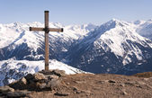 Cross in Alps — Stock Photo