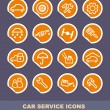 Car service icons on stickers — Imagen vectorial
