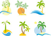 Tropical logo (Beach scene graphic.) — Stock Vector
