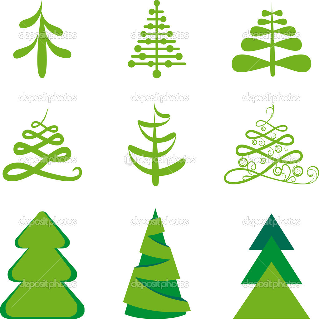 Stylized fur-trees. Christmas illustration.  Stock Vector #9354162