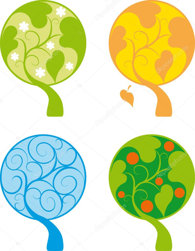 Four color abstract tree icon set isolated on white — Stock Vector #9354508