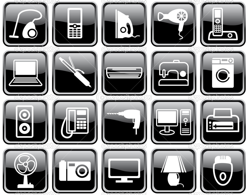 Set of icons of home appliances stock illustration