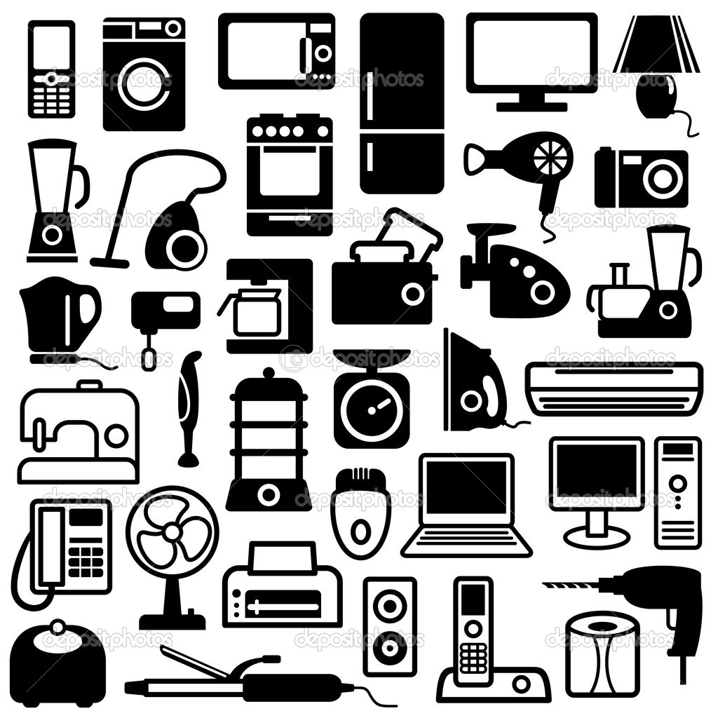 Home appliances icons stock illustration