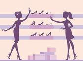 Meninas em loja de sapatos — Vetor de Stock
