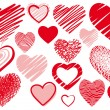 Set drawings heart - Stock Vector