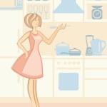 Woman on kitchen — Stock Vector