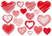 Set drawings heart — Stock Vector