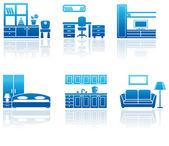 Möbler ikonuppsättning. — Stockvektor