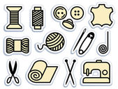 Sewing and needlework icons — Stock Vector