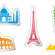 Stickers of architectural monuments — Stock Vector