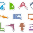 Set of stickers home appliances — Stock Vector #9529506