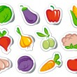 Stickers with vegetables — Stock Vector