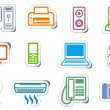 Icons of office equipment — Stock Vector