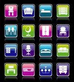 Conjunto de ícones de móveis. — Vetor de Stock