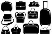 Taschen und koffer-symbole-satz — Stockvektor