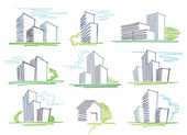 Sketches of buildings — Stock Vector