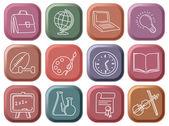 Botones con símbolos de la escuela — Vector de stock