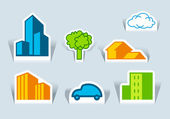 Symbols of buildings, tree and the car — Stock Vector