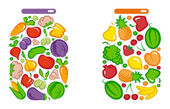 Tinned vegetables and fruit — Stock Vector
