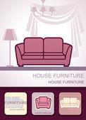 Muebles de la casa — Vector de stock