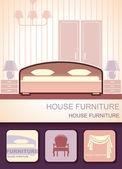 Möbel für Schlafzimmer — Stockvektor