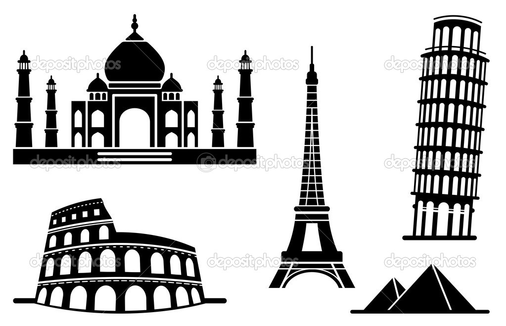 The well-known architectural monuments of the different countries  Stock Vector #9529240