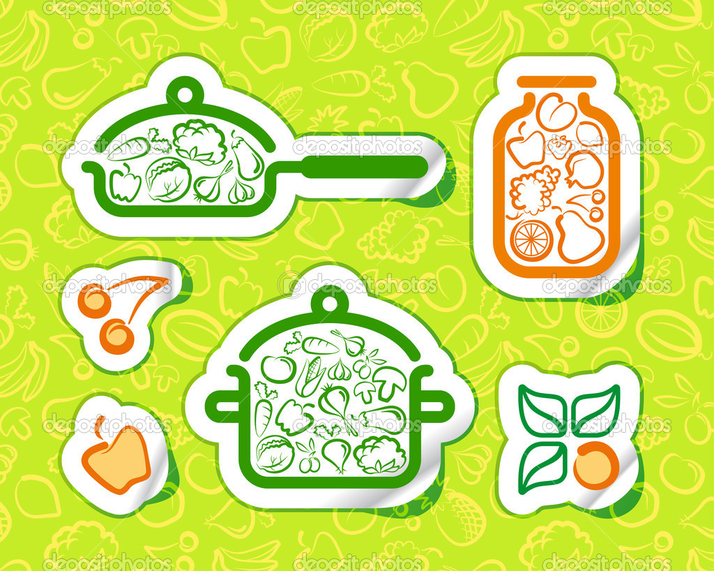 Symbols of preparation vegetarian food — Stock Vector #9529567