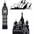 Sydney London and Moscow icons — Stock Vector