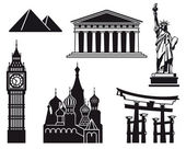 Icons of sights — Vector de stock