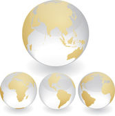 Four globes showing earth with all continents. — Stock Vector