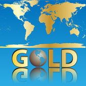 Mundo oro — Vector de stock