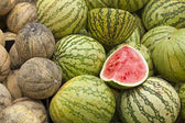 Fresh melons on market — Stock Photo