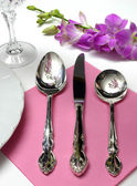 Place Setting Pink — Stock Photo