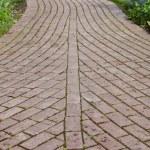 Winding paved garden pathway — Stock Photo