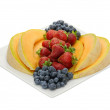 Fruit desert of berries and cantaloupe — Stock Photo #9393191