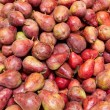 Freshly harvested red bartlett pears on display - Stock Photo