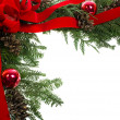 Decorative border with cones ornaments red bow — Foto de Stock