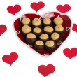 Heart shaped plate with hearts and buckeye cookies — Stock Photo #9471526