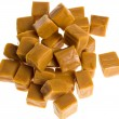 Caramel cubes in a pile - Stock Photo
