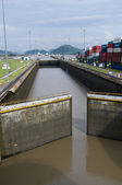 Gates of the Miraflores Locks partially open — Stock Photo