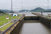 Gates and basin of Miraflores Locks — Stock Photo