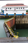Lock gates at Gatun locks Panama — Stock Photo