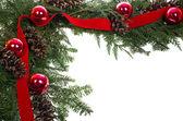 Decorative border with cones ornaments ribbon — Stock Photo