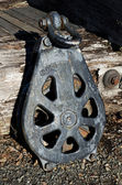 Vintage cable pulley for logging — Stock Photo
