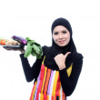 Beautiful Young Muslim Woman with fresh Vegetables.Dieting Conce — Stock Photo