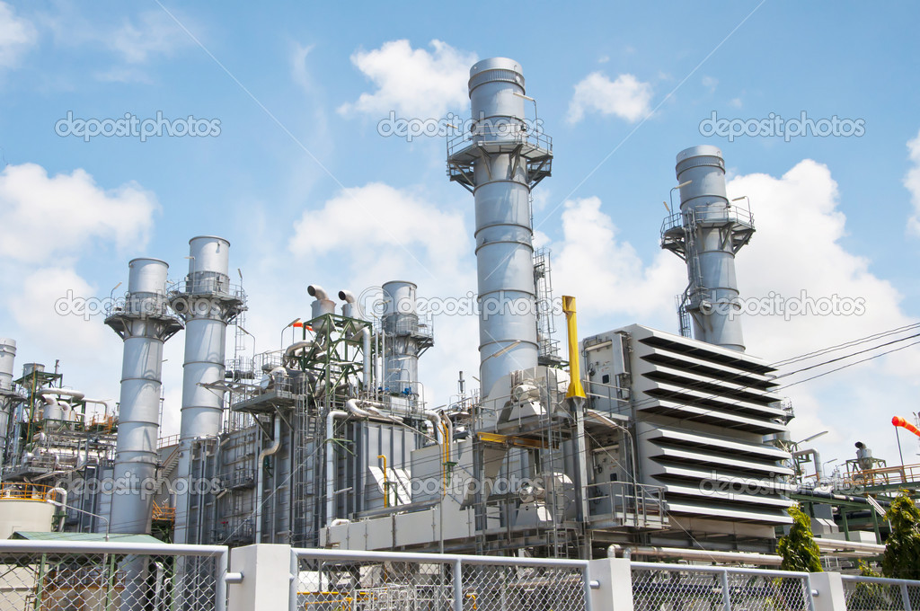 Turbine generator in power plant with blue sky — Stock Photo #10088816