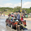 Songkarn is new year of Thailand , Every year on April is summer season the to Merit , Back to the family and Splashing water — Stock Photo